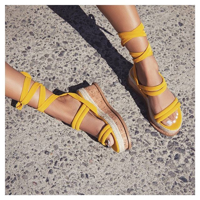 540a430dd1f Whisper Lace Up Espadrille Flatform In Yellow Faux Suede. Available in  sizes UK 3-8