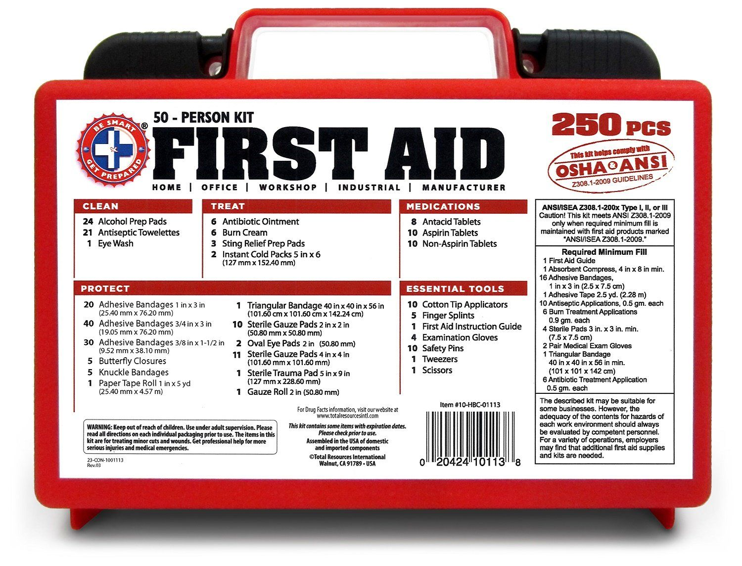 Be Smart Get Prepared 250 Piece First Aid Kit Exceeds OSHA