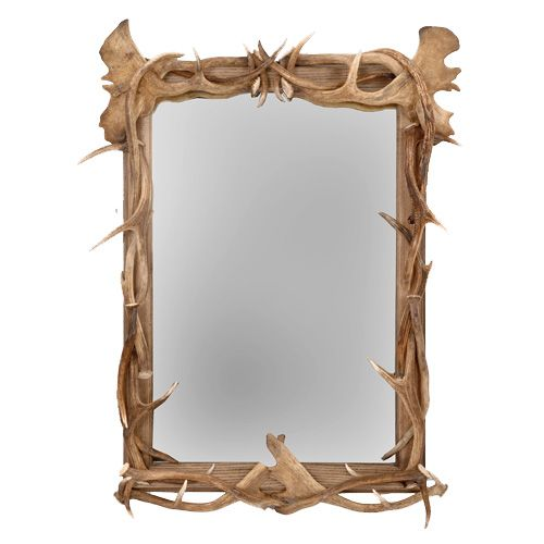 Large hardwood frame densely decorated with both red deer and fallow ...