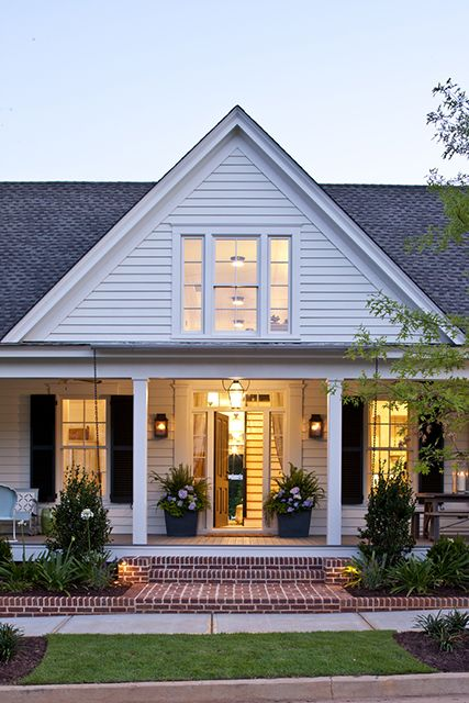 Red Brick Sidewalk And Porch With White House Farmhouse Renovation Southern Living House Plans Modern Farmhouse Exterior