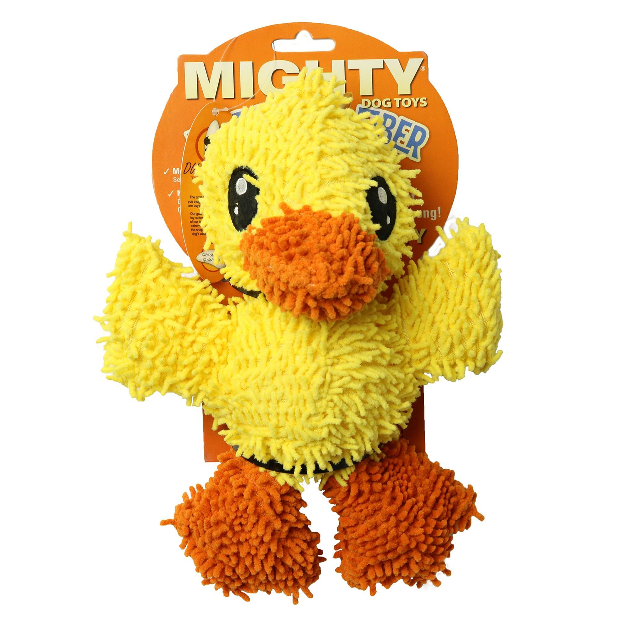 Mighty Dog Toys Microfiber Ball Duck Dog Toy Plush Squeaker