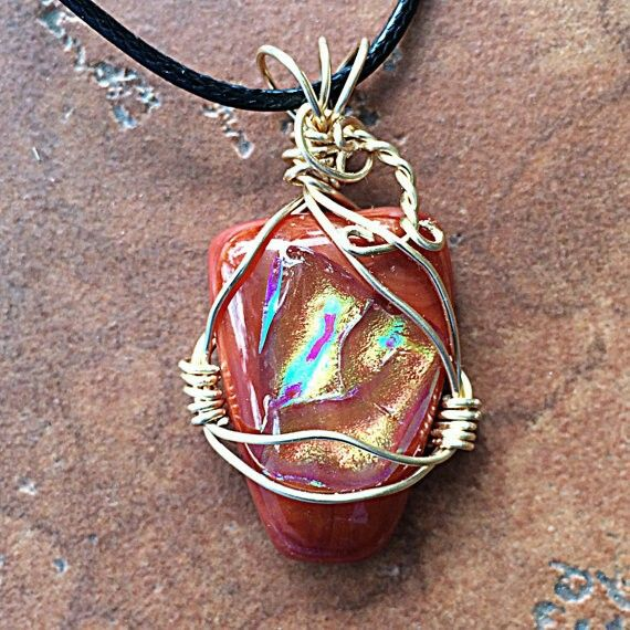 Wire wrapped fused glass