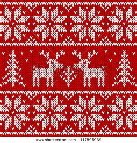Red knitted sweater with deer seamless pattern - stock vector Xmas ideas ...
