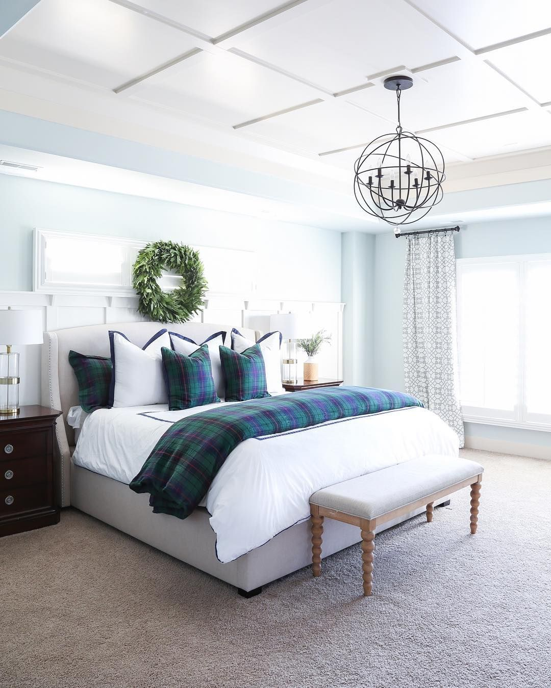 blue and white traditional bedroom, modern farmhouse, blue