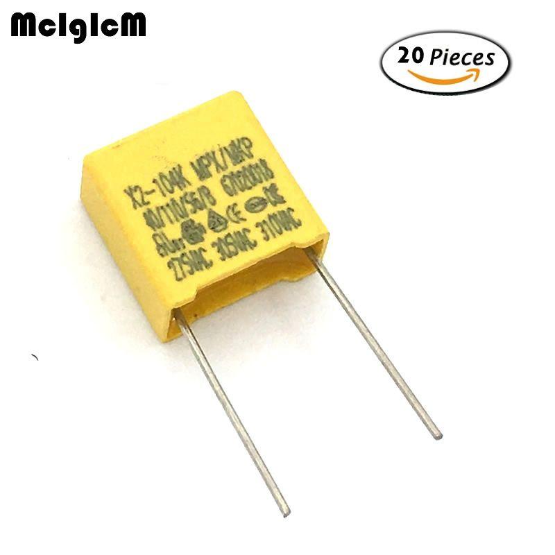 A012 20 Pcs 100nf Condensateur X2 275vac Condensateur Pitch 10mm X2 Film Polypropylene Condensateur 0 1 Uf Pitch Capacitors Film