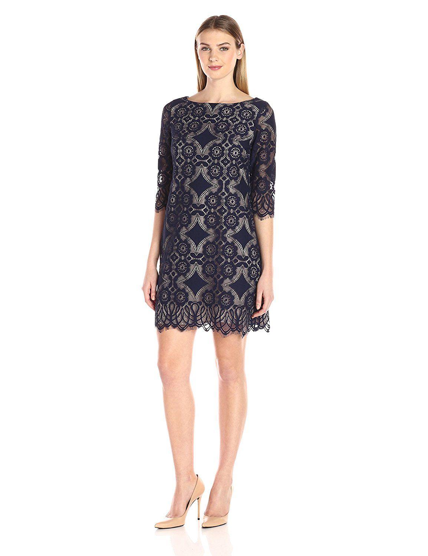 5fc10f4df9398 Eliza J Women's Lace Shift Dress at Amazon Women's Clothing store ...