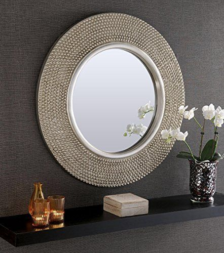 Rome Large Round New Wall Mirror Modern Champagne Silver Frame Art Deco Antique