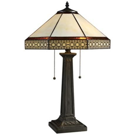 Stone Tiffany Style Bronze 2 Light Table Lamp Tiffany Table