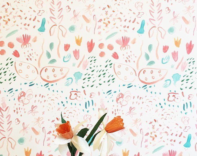 Removable Wallpaper // Muse in multicolor // Adheres to