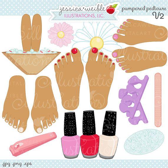 Pedicure Clipart: Pampered Pedicure V2 Cute Digital Clipart