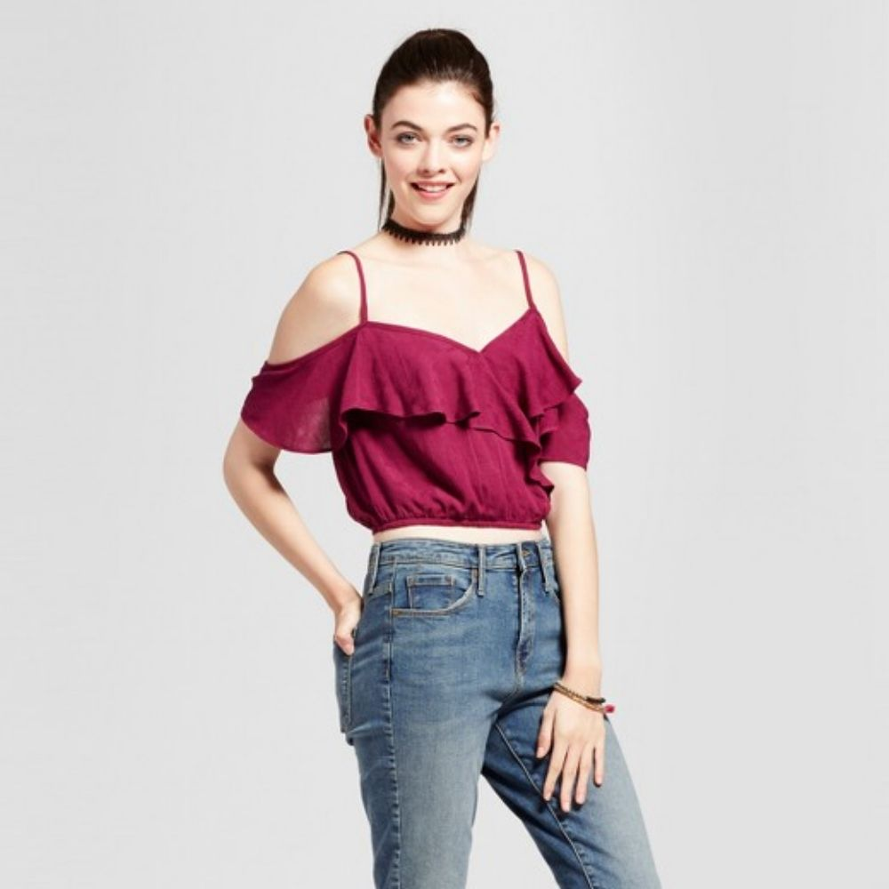 7d32399c97fee5 Women's Printed Keyhole Off the Shoulder Top - Mossimo Supply Co. Brown Xxl  | Products | Women, Fall shirts, Tops