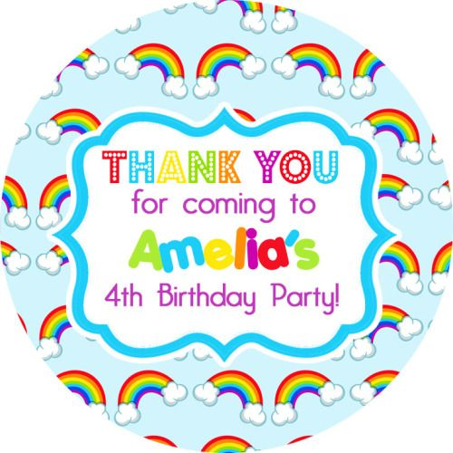 Rainbow birthday party personalised bags stickers 1x a4 sheet