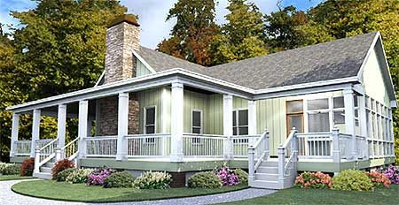 Plan 86229hh One Story House Plan With Wrap Around Porch Farmhouse Style House Plans House With Porch Porch House Plans