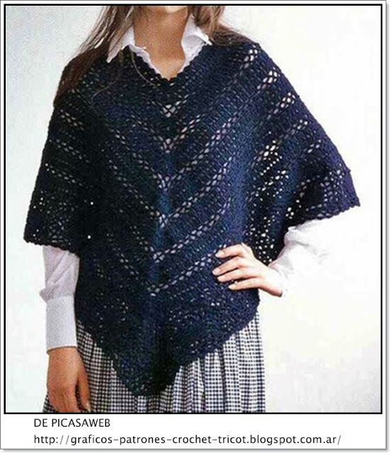TEJIDOS A CROCHET - GANCHILLO - PATRONES: CROCHET PONCHO FABRIC WITH ...