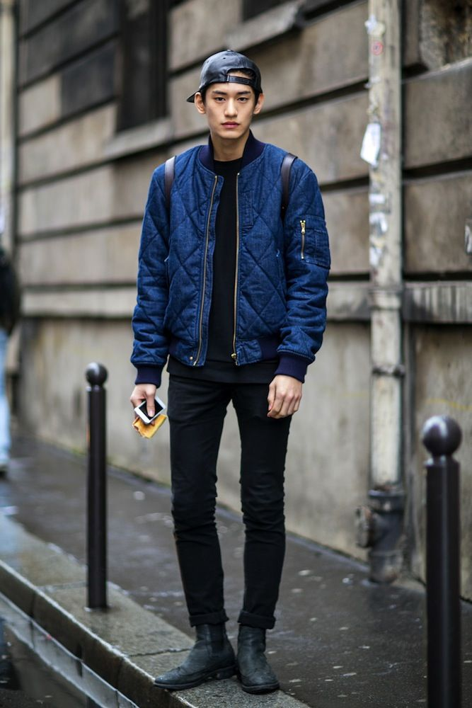 Street Style At Paris Fashion Week 2014 Quilt Jacket And Leather Cap Style Pinterest