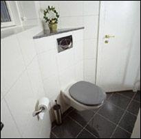 Wall Hung Toilet In Corner Badevaerelse