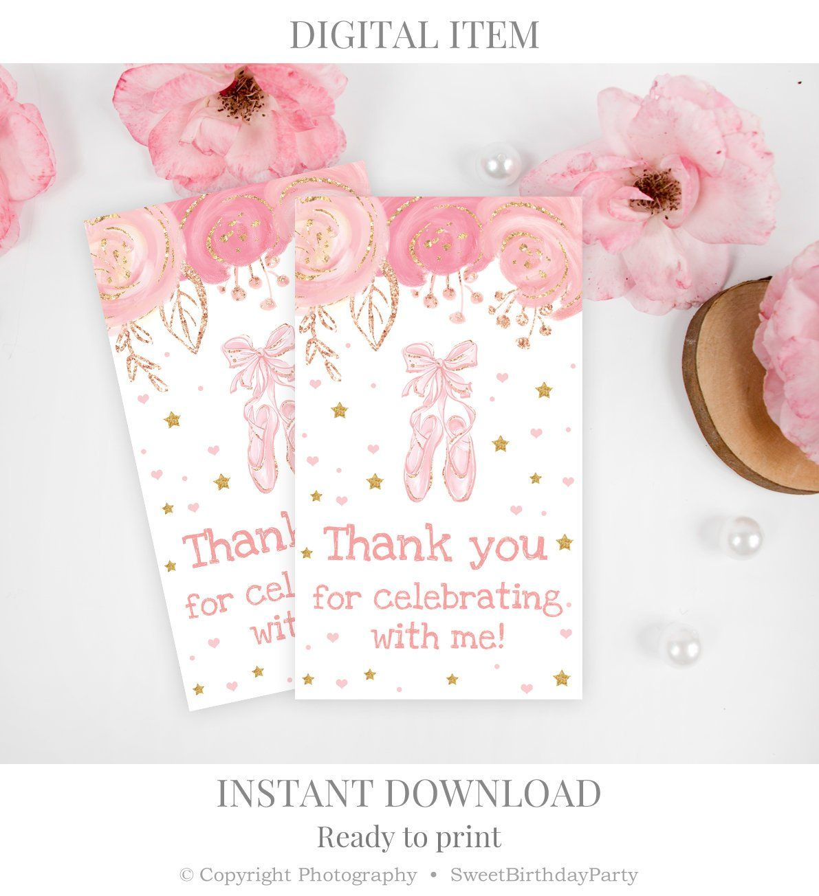 Watercolour Pink Gold Floral Mermaid Party Thank You Cards