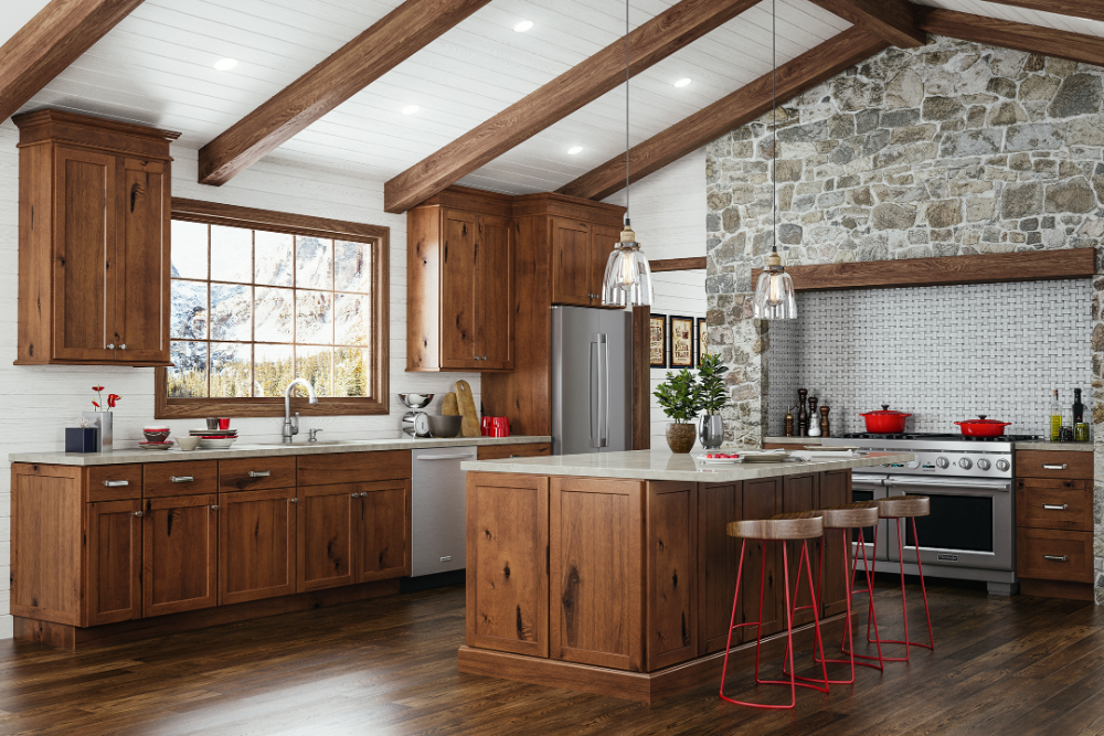 JSI Cabinetry Amesbury Brown Kitchen in 2020 | Staggered ...