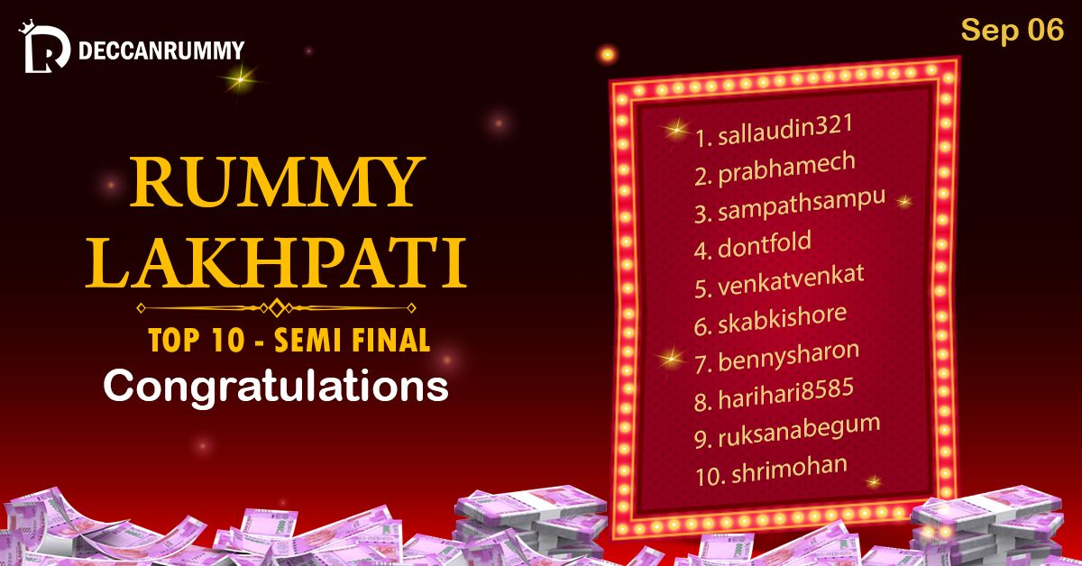 Congratulations 👏👏👏 to our top 10 rummylakhpati semifinal