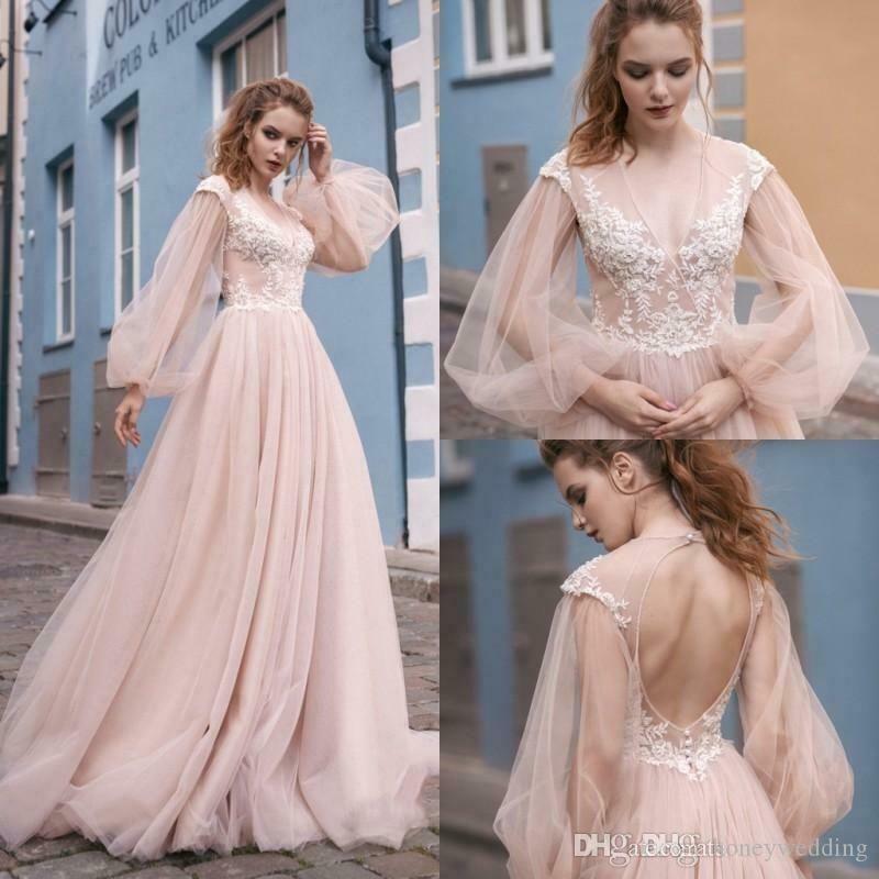 Beach Blush Pink Wedding Dresses Long Sleeves V Neck Lace Applique Bridal Gown Wedding Dresses Blush Blush Pink Wedding Dress Long Sleeve Wedding Dress Lace