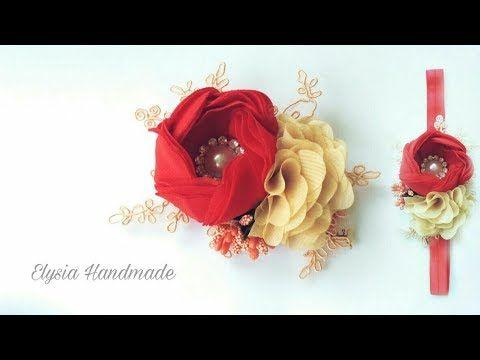 Rose Buds Cute Baby Headband Kylie Bandeau WHITE Satin Chiffon Look Rosette