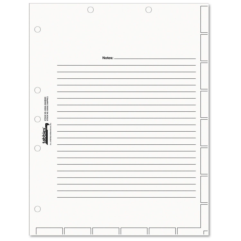 Tabbies Medical Chart Index Divider Sheets 8-1/2 X 11