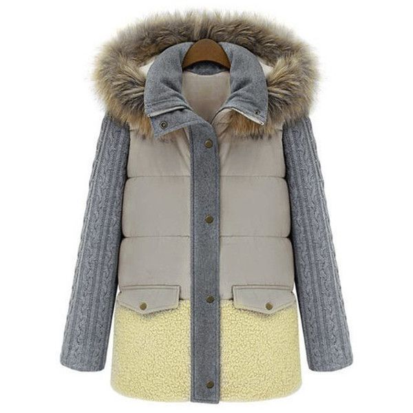 Yoins Contrast Color Thicken Padded Outerwear with Hood Design ($62) ❤ liked on Polyvore featuring outerwear, coats, black, padded coat and hooded coat