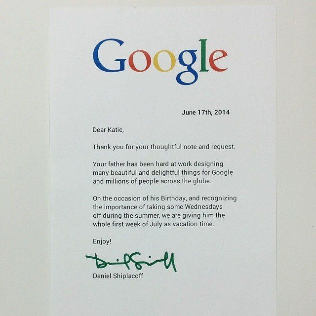 A Little Girl Wrote Google A Letter Asking To Give Her Dad A Day