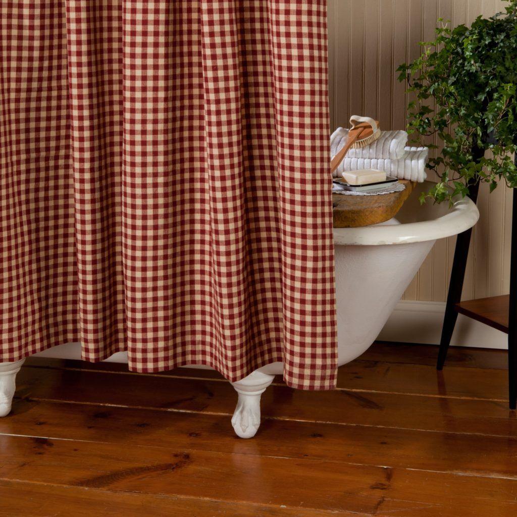 curtaincurtain shower checkered gingham red curtain