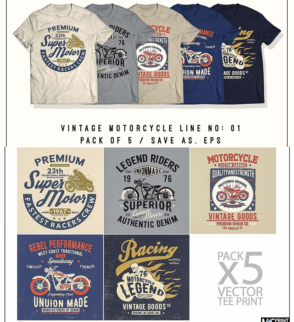 Vintage Motorcycle T Shirt Print Set Free Download Free T Shirt Design Creative T Shirt Design Tshirt Print