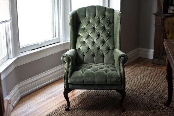 Mint Green Velvet Tufted Wingback Chair Vintage Home