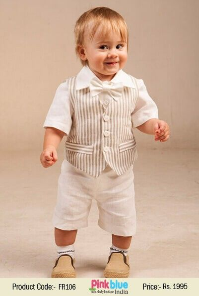 a4dc0b49c Buy Beige Striped Waistcoat with White Shirt and Short Clothing Suit ...