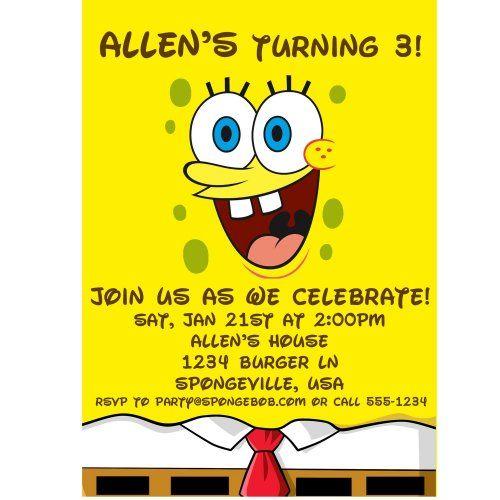 Spongebob Birthday Party Invitations My Birthday Spongebob