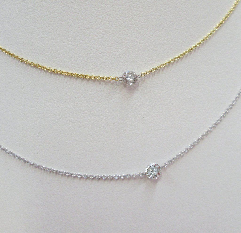 Pierced diamond necklace yellow or white k gold ct sg