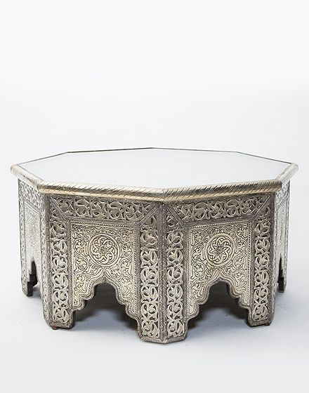 White Metal Moroccan Octagonal Coffee Table Orient