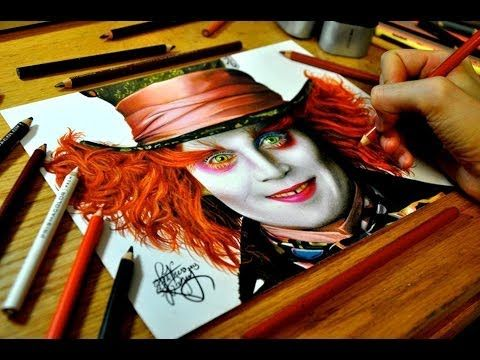 Drawing Johnny Depp as the Mad Hatter