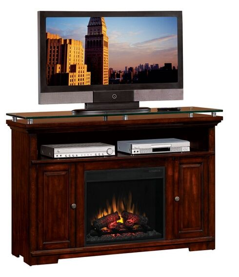 Dark Cherry Finish Wood Amp Glass Top Tv Stand Entertainment