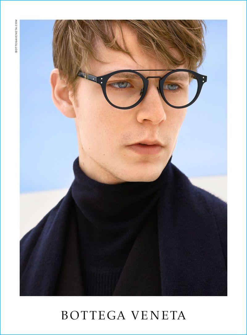 e33dd63fb228 Simon Fitskie is a smart vision in optical frames for Bottega Veneta s  fall-winter 2016 eyewear campaign.