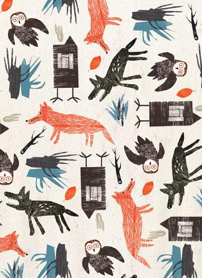 Print Pattern Art Pinterest Motifs Loups Et Renard