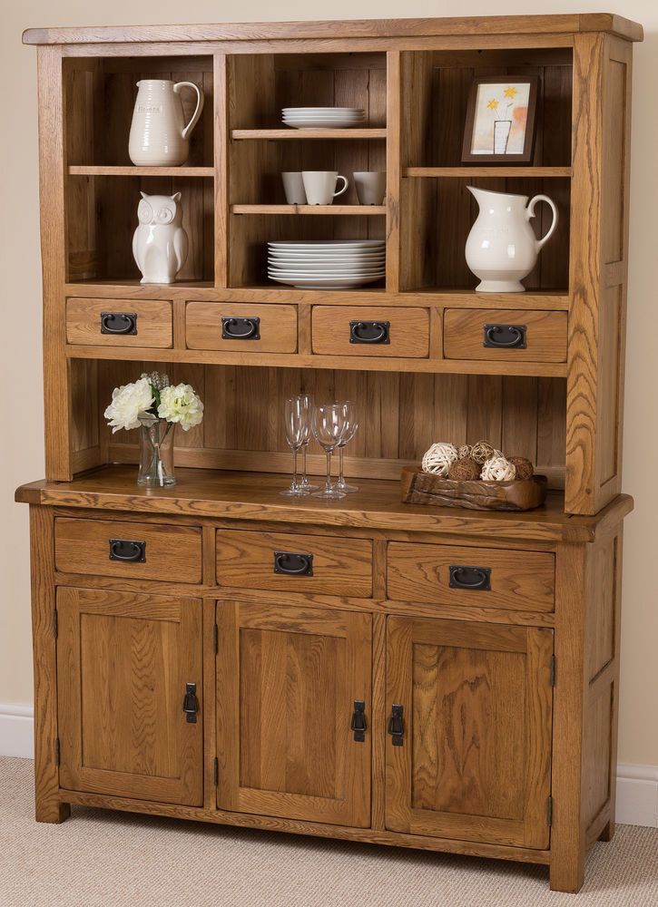 Cotswold Rustic Solid Oak Wood Large Welsh Dresser Cabinet Wall Unit Furniture