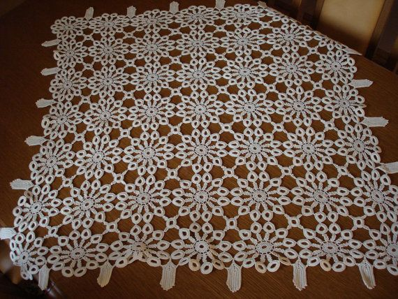 Handmade vintage  rectangle tablecloth by embroiderytrend on Etsy