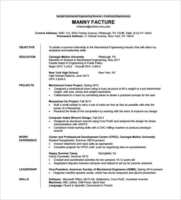 Resume Template For Fresher Free Word Excel Pdf Format Sample - Best of resume for practical student concept