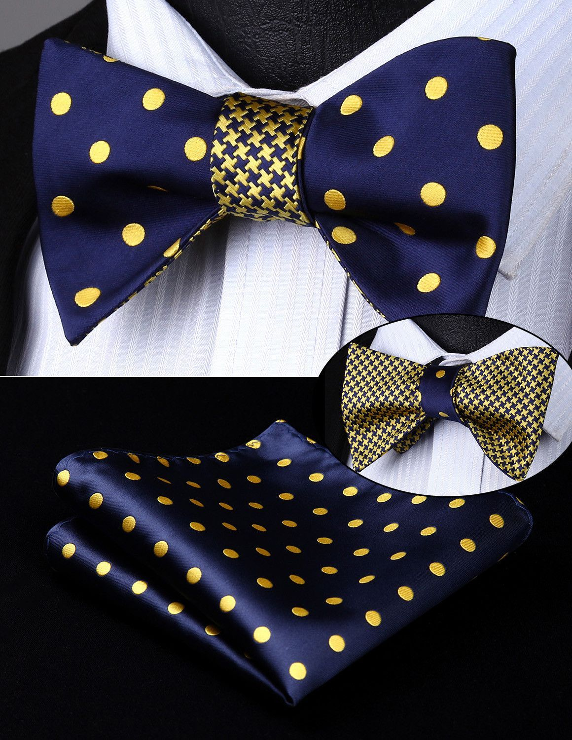 2efc84dc5a7ed Dots In Gold Bow Tie and Pocket Square (Double Sided) | Style ...