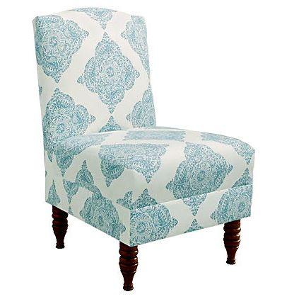 Aqua and White Geiger Armless Chair
