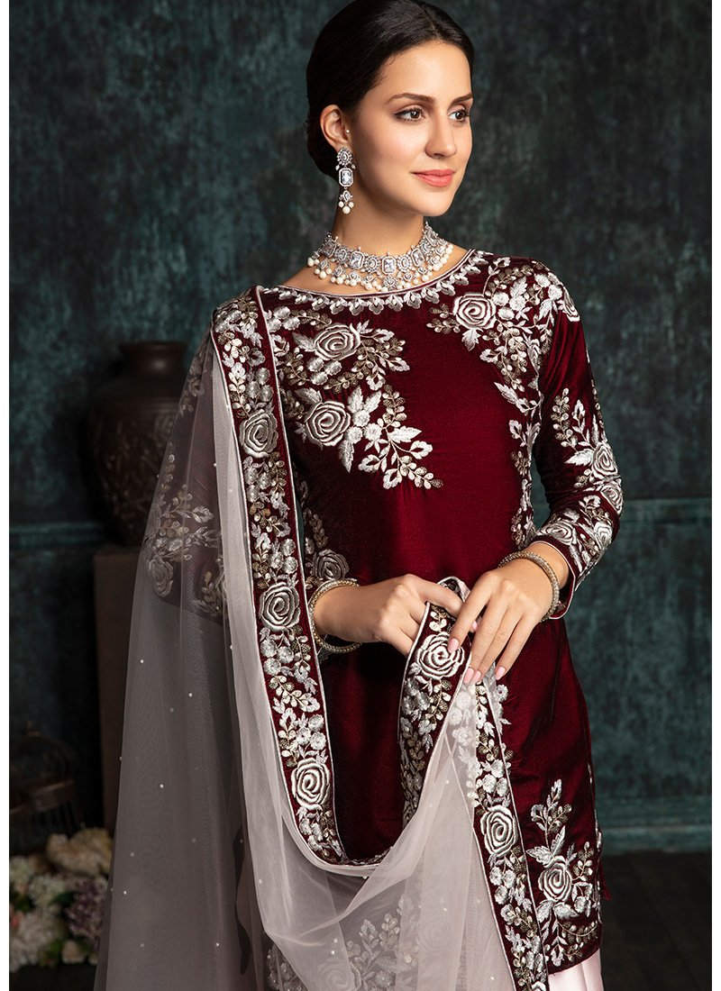 Deep maroon and light pink velvet punjabi suit indian