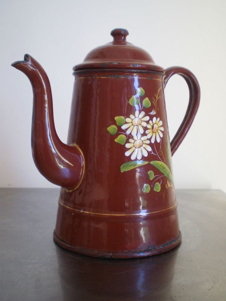 Cafetiere emaillee ancienne marron deco cuisine campagne Deco cuisine ancienne campagne