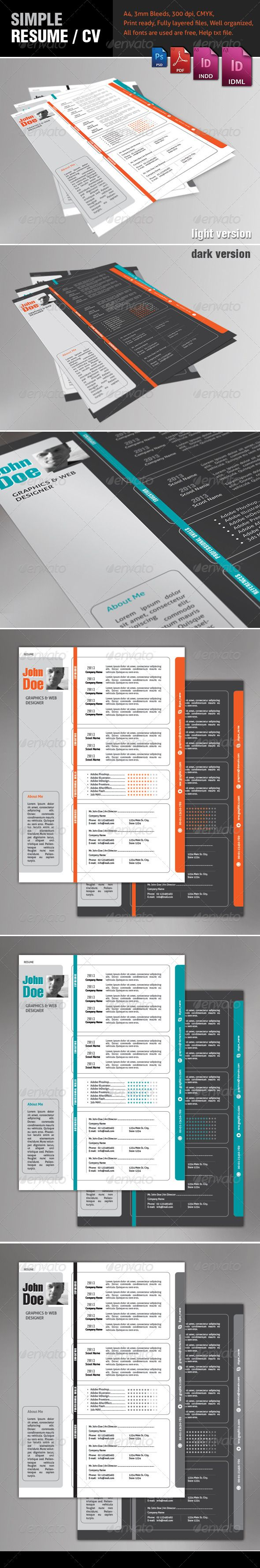 Resume Template  Adobe Indesign Adobe Photoshop And Adobe