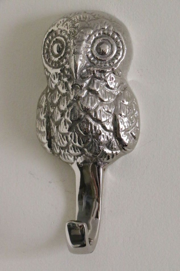 Silver Coloured Owl Coat Hook Unique Sculptures Coat Hooks Color