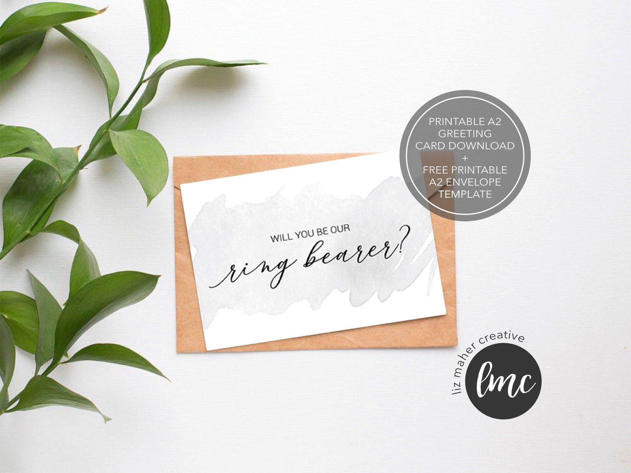 Printable Will You Be Our Ring Bearer Card Instant Download Etsy Cards Greeting Card Template Envelope Template