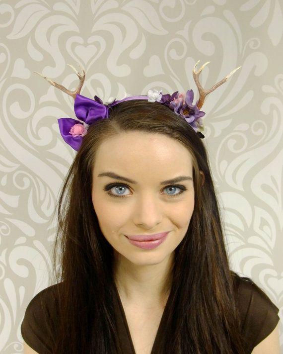 Purple Fawn Antler Headband, Kawaii Faun Headband, Mori-Kei, Lolita Headband, Woodland Deer Antlers, Sweet Candy Lolita Mori Fashion Kawaii
